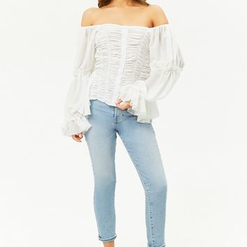 Ruched Chiffon Off-the-Shoulder Top