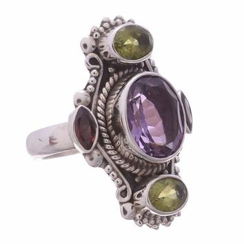 Arvino 925 Sterling Silver Ring with Amethyst Gemstone