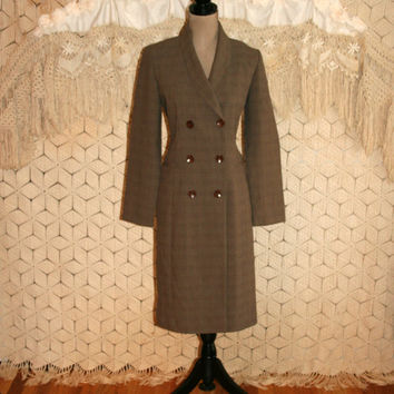 Double Breasted Coat Dress Brown Plaid Dress Duster Coat Long Sleeve Dress Winter Dress Size 8 Size 10 Size 12 Medium Large Womens Clothing