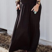 Sundown Pocket Maxi Skirt - Black