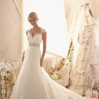 Alencon Lace Net Gown by Bridal by Mori Lee