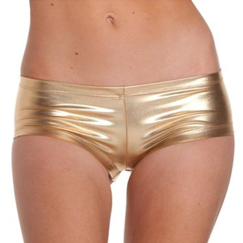 Womens Low Waisted Sexy Metallic Rave Dance Shorts  Shiny Dance Shorts Gold Red Shorts Sexy Mini pole dance Shorts