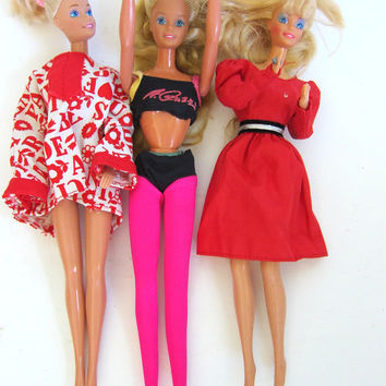 vintage Barbie Dolls / 1980s - 1990s set of 3 Barbies with clothing