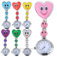 Sweetheart Practical Fashion Style Candy Color Smile Face Nurse Clip Watch Medical Use Pocket  Fob Brooch Quartz Clasp Watch = 1958749444