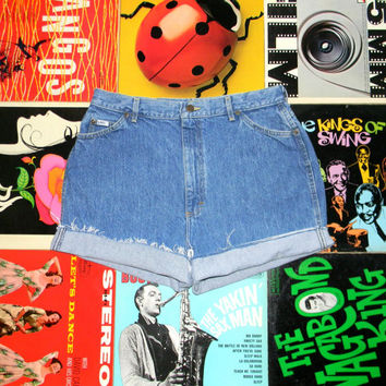 High Waisted Denim Shorts - 80s Stone Washed Jean Shorts - High Waist, Cut Off, Frayed, Rolled Up LEE Brand Shorts Size 14 14W XL Plus Sized