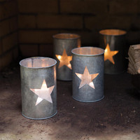 (Set of 4) Tin Luminary ~ Star