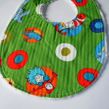 Dr Seuss bib, chenille bib, Thing 1 Thing 2, Horton, The Grinch, Cat in the Hat bib, snap closure bib