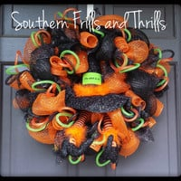 Halloween Deco Mesh Witch Wreath