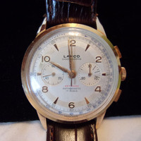 18K Gold Lanco Men's Wrist Watch Chronographe Wind Up Vintage 1950s 17 Rubis Swiss Made