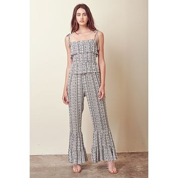 Storia Smocked Jumpsuit with Ruffles