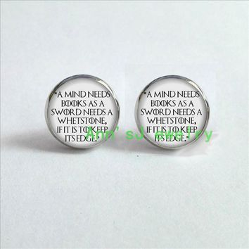 ES-00103 1pair Game of Thrones stud earrings A mind needs books Earrings Studs jewelry ear nail glass Cabochon Earrings Post