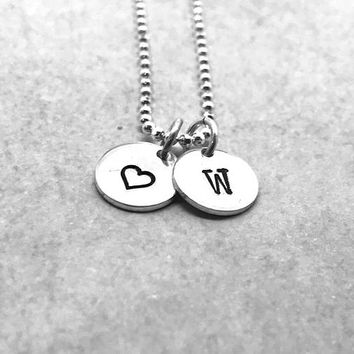 W Initial Necklace with Heart Charm, Sterling Silver, All Letters Available, Letter W Necklace, Hand Stamped Jewelry, Heart Necklace