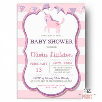 Unicorn Baby Shower Invitation Girl - PRINTABLE Unicorn Shower Invitations - Unicorn Party Invitations - Girl Baby Shower Invitations