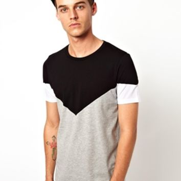 ASOS T-Shirt With Cut And Sew Triangle Yoke Panel at asos.com