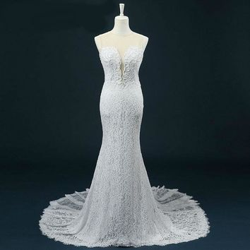 Sheer O-neck Mermaid Wedding Dress Pearls Beading Covered Button Lace Wedding Dresses
