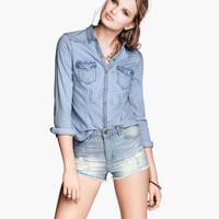 Fitted Denim Shirt - from H&M