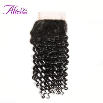 Alishes Hair Malaysian Curly Lace Closure 4*4 Free Part Bleached Knots Remy 100% Human Hair Natural Black Color Can Be Dyed