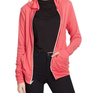 LE3NO PREMIUM Womens Ultra Lightweight Zip up Hoodie Jacket with Pockets