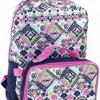 Fall Back To School Flower 16 in Backpack With Lunch Kit