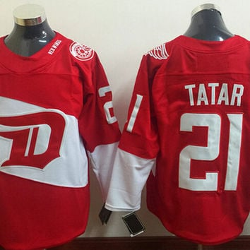 Detroit Red Wings 21 Tomas Tatar Series Jersey Stadium Ice Hockey Sports Alternate Red All Stitching Top Quality On Sale