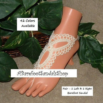 LACE Ivory Barefoot Sandals Bridal Flats Low Heel Flat Beach Wedding SHOES 2Pieces