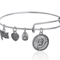 Alex and Ani  style double dolphin pendant charm bracelet