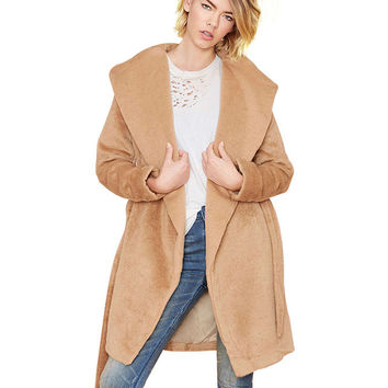 Camel Color Lapel Collar Long Sleeve Belted  Coat