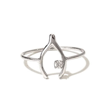Solid 14K Gold & Diamond Wishbone Ring (Pinky, Midi, Stackable Ring) {available in Yellow, White or Rose Gold}