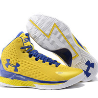Men's Under Armour Stephen Curry One Yellow Blue Basketball Shoes