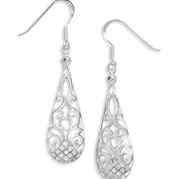 Puffed Filigree Earrings On French Wire