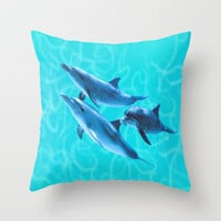 Dolphin friends Throw Pillow by JT Digital Art  | Society6