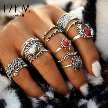 17KM 14pcs/Set Vintage Silver Color Moon And Sun Midi Female Ring Sets for Women 2017 New Red Big Stone Knuckle Rings Gift