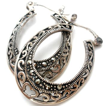Sterling Silver Hoop Earrings with Marcasites