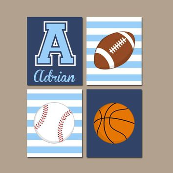 SPORTS Wall Art,Baby Boy Sports Nursery Decor,CANVAS or Prints,Sports Theme Decor,Big Boy Bedroom,Football Baseball Basketball,Set of 4