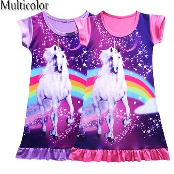 2018 New Nightgowns Summer Dress Print Unicorn Dress for Girls Kids Clothes Girls Dress Princess Costume Unicorns Vestidos 3-10Y
