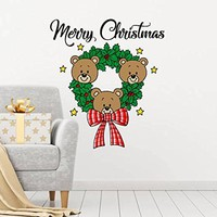 "Merry Christmas Wreaths Full Color Murals Bears Nursery Colorful Vinyl Decal Holiday Stickers Christmas Decoration Home Decor Art EN43 (19"" Wide x 22"" Tall)"