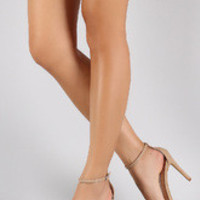 Women's Anne Michelle Ankle Strap Open Toe Stiletto Heel - Nude