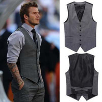 The new 2015 men's fashion leisure suits vests / Men's wedding banquet gentleman suit vest / Beckham with suit vest  v-neck men