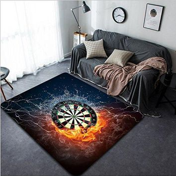 Vanfan Design Home Decorative Darts Board in Fire and Water Isolated on Black Background Modern Non-Slip Doormats Carpet for Living Dining Room Bedroom Hallway Office Easy Clean Footcloth