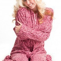 Hot Pink Cheetah - Polar Fleece Pajamas - Pajamas Footie PJs Onesuit One Piece Adult Pajamas - JumpinJammerz.com
