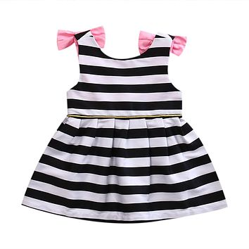 2017 Summer Striped Baby Girls Dress Sleeveless Backless Bow Princess Girl Mini Dress Toddler Kids Party Costume Clothes