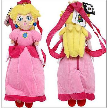 "Nintendo Super Mario Bros Princess Peach Doll Plush Bag Backpack 19"" LICENSED"