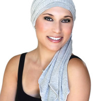 Gray Heather Jersey Turban, Head Wrap, Alopecia Scarf, Chemo Hat and Scarf Set