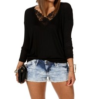 Sale-black V Neck Long Sleeve Top