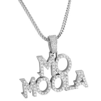 Men's Designer Mo Moola Fully Iced out 14k White Gold Finish Hip Hop Custom Pendant Chain