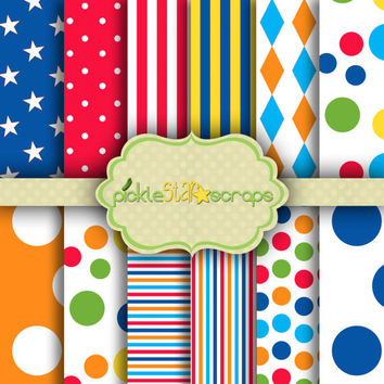 Printable Craft Carnival Papers Circus Printable Carnival Backgrounds Circus Party Carnival Theme Circus 12x12 Circus Vol2 INSTANT DOWNLOAD