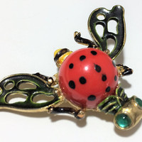 Kramer Flying Bug Pin Enamel Wings Green Cabochon Eyes Insect Brooch Mid Century Jewelry Figural Animal Costume Jewellery  318