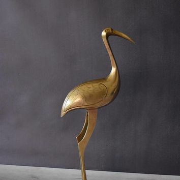 Brass Flamingo/ Brass Crane/ Brass Pelican/ Vintage Brass Bird/ Brass Figurine/ Brass Statue/ Brass Animal/ Stocking Stuffer/ Gift under 30