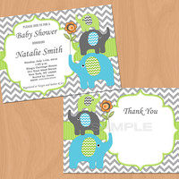 Elephant Baby Shower Invitation Boy Baby Shower invitations Printable Baby Shower Invite -FREE Thank You Card - editable pdf Download (87g)