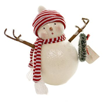 Christmas RETRO FROSTY WITH WREATH Polyresin Knit Hat Scarf Snowman Sn7467